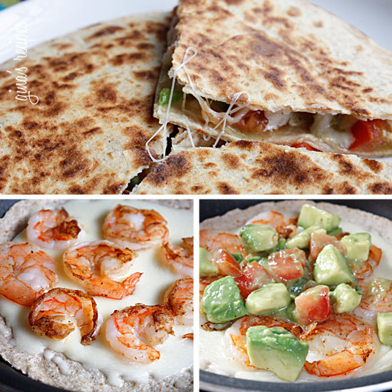 "mybeauty-inprocess:  Shrimp Quesadillas with Tomato Avocado SalsaGina's Weight Watcher RecipesServings: 4 • Serving Size: 1 quesadilla • Old Points: 7 pts • Points: 8 ptsCalories: 307.3 • Fat: 16.0 g • Protein: 29.6 g • Carb: 27.3 g • Fiber: 17.8 g  Tomato Avocado Salsa: 1 medium tomato, diced 1 hass avocado, diced 1 lime, juice of  1 tbsp cilantro, chopped 1 tbsp red onion, finely minced 16 large shrimp, cleaned and deviened  cumin garlic powder salt and fresh pepper cooking spray 4 scallions, chopped 6 oz Cabot's 75% Light Vermont Cheddar, shredded 8 (6"") low carb whole wheat flour tortillas (I used La Tortilla Factory) In a medium bowl, combine tomatoes, avocado, red onion, lime juice, cilantro, salt and pepper.Season shrimp with salt, pepper, cumin, and garlic powder. Lightly spray a hot skillet on medium heat with cooking spray, add shrimp and scallions. Cook 2-3 minutes on each side until shrimp is cooked though. Remove from heat and cut shrimp in half lengthwise, set aside.Heat skillet on medium heat and lightly spray with oil. Add tortilla, top with 1.5 oz cheese, 8 shrimp halves, and tomato avocado salsa. When the cheese is melted and the bottom of the tortilla is golden brown, place the other tortilla on top. Put a plate on top of the quesadilla to flip it over onto the plate. Then slide the other side onto the skillet. Cook another minute and remove with a spatula. Cut into wedges and serve immediately.  I used Joseph's Flax, Oat Bran & Whole Wheat Flour Tortillas. I love them and use them all the time! 70 calories but a bit higher in carbs than the low carb la torilla wraps."