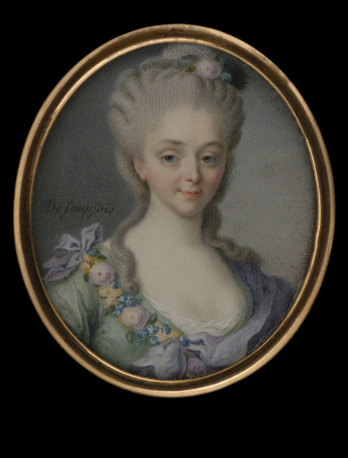 Lady in Light Green Dress with Flowers by Sompsois, circa1770