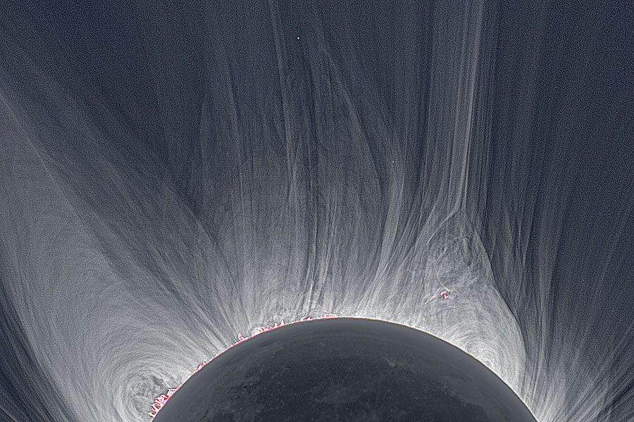 ikenbot:  Most Detailed View of a Solar Eclipse Corona Credit & Copyright: Miloslav Druckmüller (Brno University of Technology), Martin Dietzel, Peter Aniol, Vojtech Rušin Only in the fleeting darkness of a total solar eclipse is the light of the solar corona easily visible. Normally overwhelmed by the bright solar disk, the expansive corona, the sun's outer atmosphere, is an alluring sight. But the subtle details and extreme ranges in the corona's brightness, although discernible to the eye, are notoriously difficult to photograph. Pictured above, however, using multiple images and digital processing, is a detailed image of the Sun's corona taken during the 2008 August total solar eclipse from Mongolia.