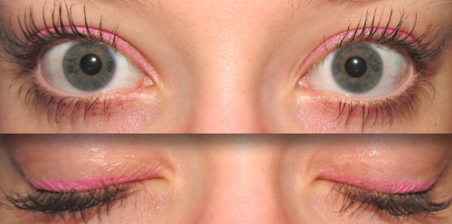 Eye makeup of the day: Bubblegum Pink  Products used: Jordana Cosmetics Bright Eyes Retractable Eyeliner in the color 06 Pink - Rating: 7/10 Maybelline One by One Volume Express mascara in the color Blackest Black - Rating: 7/10