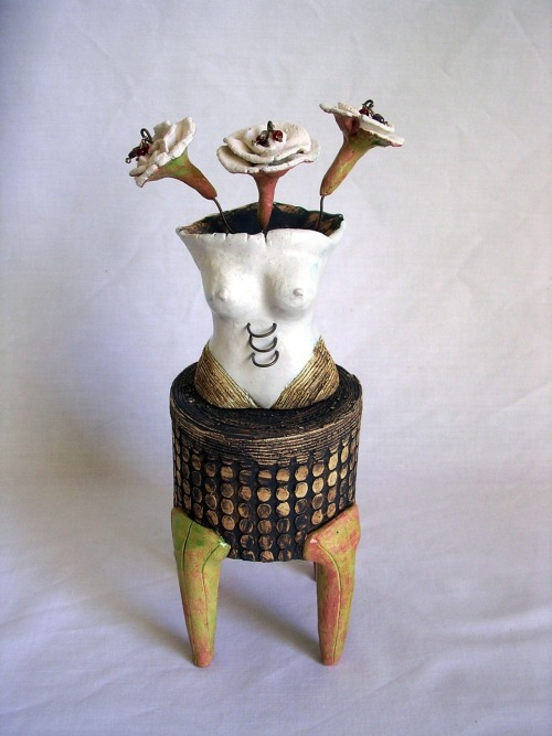 Liliana Folta: Waiting for You in White, 2008, ceramic, oxides, glazes, fresh water pearls, crystal beads, high temp wire, 10x3.5x3.5in.