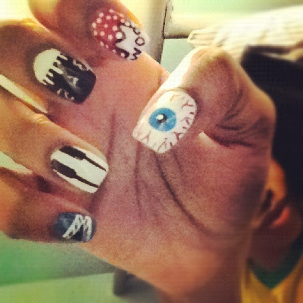 WAH nails swag #manicure #topshop #pow #piano #tapemeasure #eyeball #modelsown #instaswag  (Taken with instagram)