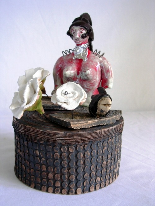 Liliana Folta: Memories & Flowers of a Warrior in a Sandbox, ceramic, oxides, glazes, high temp wire, 8x5in.