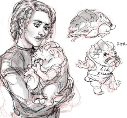 poupart:  Scribbledoo of some Poup Shep and some Krogan babbys. Krogans are my most favorite thing. Babies aren't but I figure space turtle babies would be okay. Deliberately changed Shep's appearance since there aren't any actual textured hair options in the game and she's got stick arms by default. A girl can dream, though. A girl can dream.