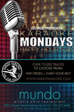 Karate Karaoke hits @MundoLasVegas this Monday! Get your gi on and throw down like Daniel San!
