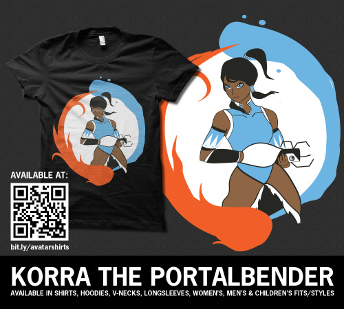 lolbender:  Korra the Portalbender - GLaDOS doesn't stand a chance! Do you like it? Share it! Get your here in lots of colors choices - and there's stickers for sale too! Follow RachaelMakesShirts on Tumblr & Facebookfor discounts, sneak peeks, and giveaways!