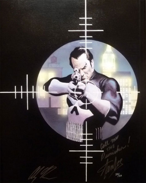 Artwork : The Punisher par Alex Ross xombiedirge:  The Punisher by Alex Ross, also signed and inscribed by Stan Lee.