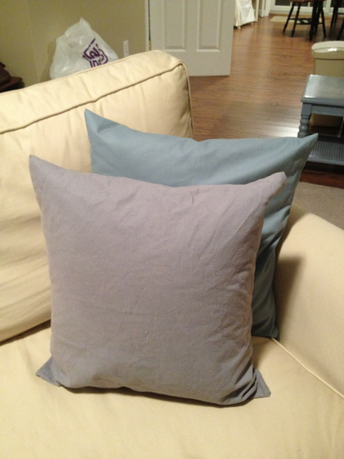 Finished the couch pillows. In person they are more gray-blue than purple.
