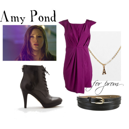 Amy Pond for prom Draped dress, £13Franco Sarto leather high heels, $41Letter jewelry, $16John Lewis metallic belt, £12