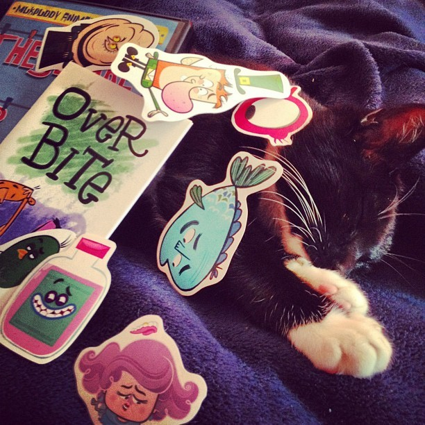 The cat is sleep-modeling the awesome gifts I got from @xander13 and the @mukpuddy guys. Meow. (Taken with instagram)