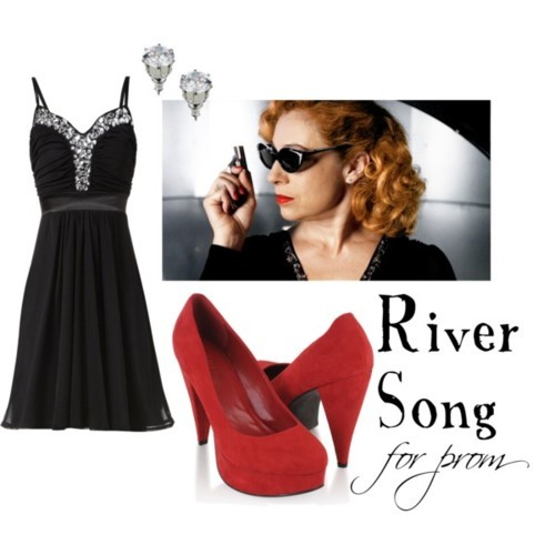 River Song for prom Jane Norman prom dress, £23Forever 21 high heels, $23Wallis silver stud earrings, $12