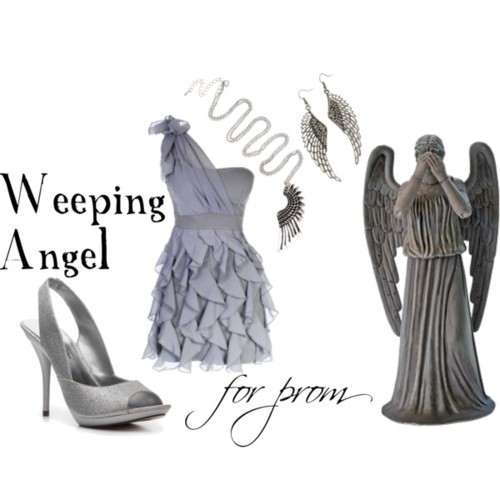 Weeping Angel for prom One sleeve dress, $48Michael Antonio platform sandals, $40Club Manhattan wing necklace, €18Wing jewelry, 15 AUD
