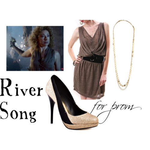 River Song for prom Pleated dress, $30Michael Antonio gold heels, $50Wallis multi chain necklace, $18