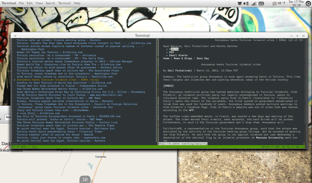 canto, tmux & links