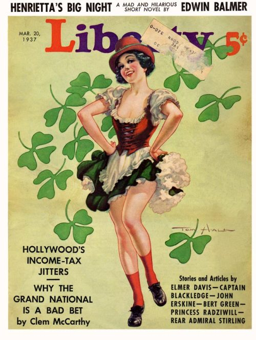 whataboutbobbed:  Tom Hall's St Patrick's Day themed cover for Liberty, March 20th, 1937
