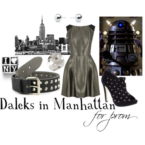 Daleks in Manhattan for prom Oasis flare dress, $50Black studded booties, £30Charm jewelry, $30H M chunky jewelry, £3.99Betty Jackson. Black ball earrings, £6Loop belt, £20