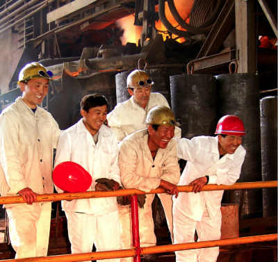 6/6 Iron smelters at the Chollima Steel Complex in Nampo City, DPRK. Founded in 1939 by Japanese occupiers, it was a flagship of the North Korean economy after the liberation. In the 1980s, the annual output was said to total one million metric tons. A new steel plant with annual production capacity of two million tons is under construction. courtesy Korean Central News Agency ______________ An historic exhibition featuring photos of The Associated Press and the Korean Central News Agency will offer a rare glimpse into a nation long shrouded from view. The exhibition will open on the 100th anniversary of the birth of Kim Il-sung, the founder of the communist state, and follows AP's recent opening of a bureau in Pyongyang, North Korea, the first to be established by a western news organization. Unique access to the KCNA photo archive will offer images illuminating the history of the DPRK, including visits by dignitaries over the years, landscapes, culture and everyday life.