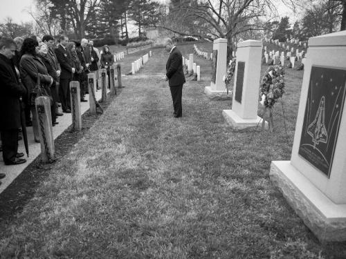 Wreath laying ceremony as part of NASA's Day of Remembrance, Thursday, Jan. 26, 2012, at Arlington National Cemetery. Wreathes were laid in memory of those men and women who lost their lives in the quest for space exploration.