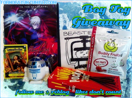 "fornoraisin:  BOY TOY GIVEAWAY  March 17th - April 20th 2012    One lucky winner will receive all!   ♔ (x1)Devil May Cry DVD Volume #1  ♔ (x1)Beastie Boys CD ""Aglio E Olio""   ♔ (x1)Buddy Fruits Pomegranate & Acai Pouch  ♔ (x1)Chocolate Pocky Box  ♔ (x1)Garbage Pail Kids Collectible Sticker  ♔ (x1)R2D2 Laser Toy    RULES:  ✦ Must Follow ME - fornoraisin.tumblr.com  ✦ Must REBLOG - likes won't count - you may reblog as many times as you want, each reblog ups your chance to win.  ✦ Giveaway will run until the end of April 20th - winner will be chosen by a random generator, and will be posted on April 21st, 2012 & contacted directly via ask - so please be sure you have your ask function turned on.  ✦ Winner must provide a shipping address to me by the end of April 23rd, 2012 or gift will be forfeited & I choose another winner.  ✦ Shipping & Handling is FREE  ✦ Gift can be shipped internationally.  ✦ Any questions? Drop em in my ask box - anon is always on if you're feeling shy! ;)  ~{YOU DO NOT HAVE TO BE A BOY TO WIN THIS GIVEAWAY}~"