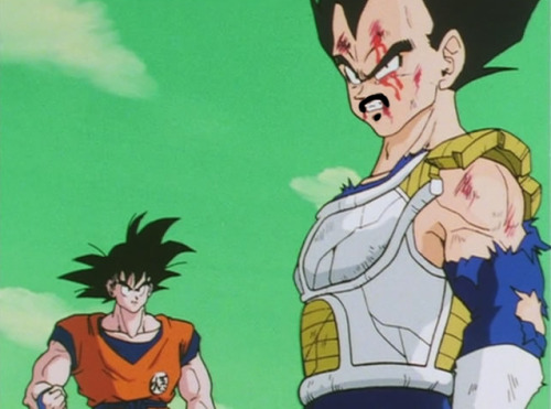 Goku is jealous of Vegeta's mustache swagger.