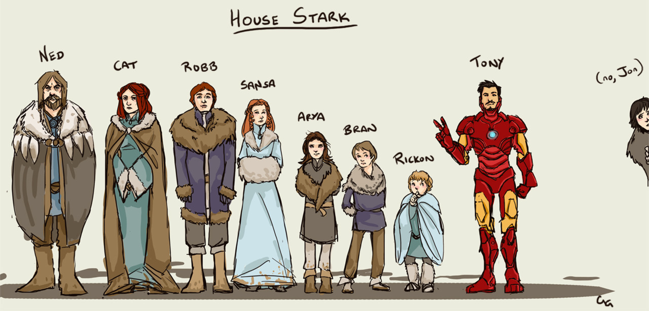 glockgal:  [image: fanart by glockgal. The Stark family from Song of Ice and Fire series, including 'Uncle Tony' aka Iron Man.  Also Jon Snow.] I hadda. :(