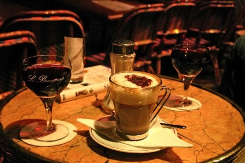 ysvoice:  | ♕ |  Bourgogne & Cappuccino - Paris cafe bar  | by © Nina's Clicks