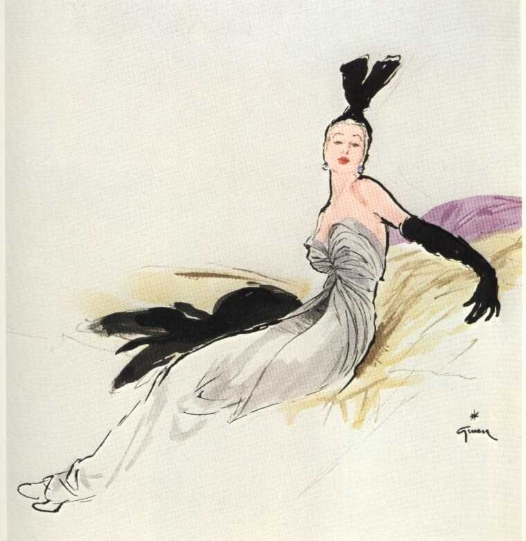hollyhocksandtulips:  Illustration by Rene Gruau for Christian Dior