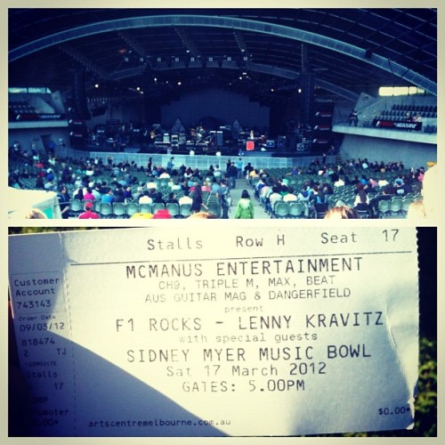 """Marcel wanna come to Sidney Myer Music bowl in half an hour?"" Yip. Watching Wolfmother and Lenny Kravitz tonight. #Randomdays (Taken with instagram)"