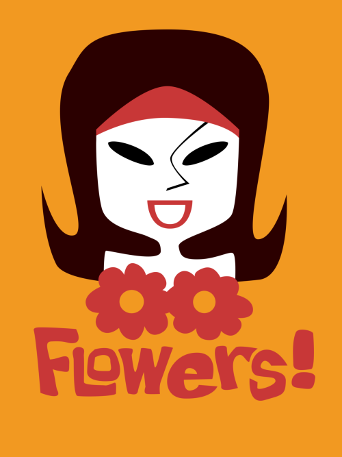 "Flowers! t-shirt by Diabolickal PLAN Picture for the 11th page of The Baroness: The Ecstasy Connection, by Paul Kenyon. ""A naked girl was picked out by spotlights while a famous pop artist applied floral designs in body paint."" Diabolickal t-shirt shop."