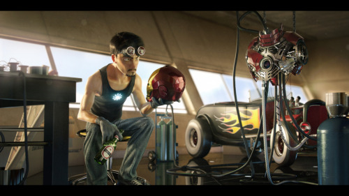 Pixar-style rendering of Tony Stark in his workshop tinkering around with the Iron Man armor. I think a Marvel Pixar collaboration is loooooong overdue. Such a partnership would surely produce some amazing fruit. I'd definitely go to the midnight showing of that movie.