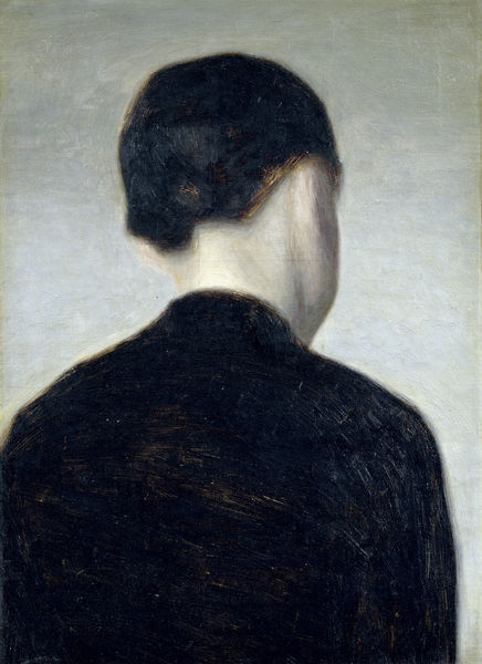 christinephilipp:  Vilhelm Hammershoi, A Girl from Behind, Half Length, circa 1884