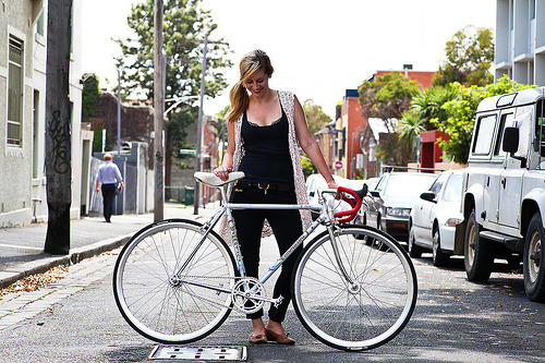 delightfulcycles:  Beautiful Bicycle: Steph and Her Tommasini (by John Prolly)  reblogging an oldy but a goody