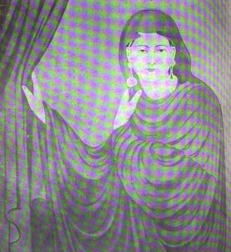 """'Pardanashin' (woman in purdah) masked by neon or moiré effect from the scan."" Submitted by andrewgoldstone. Lala Ishwari Prasad's ""The Pardanashin,"" in The Modern Review (Calcutta), vol. 4, no. 6 (December, 1908). Rpt. in The Modern Review, vol. 4, nos. 5–6 (Calcutta: Prabasi Press, n.d.): 446. Original from the University of California, Berkeley. Digitized February 4, 2010."