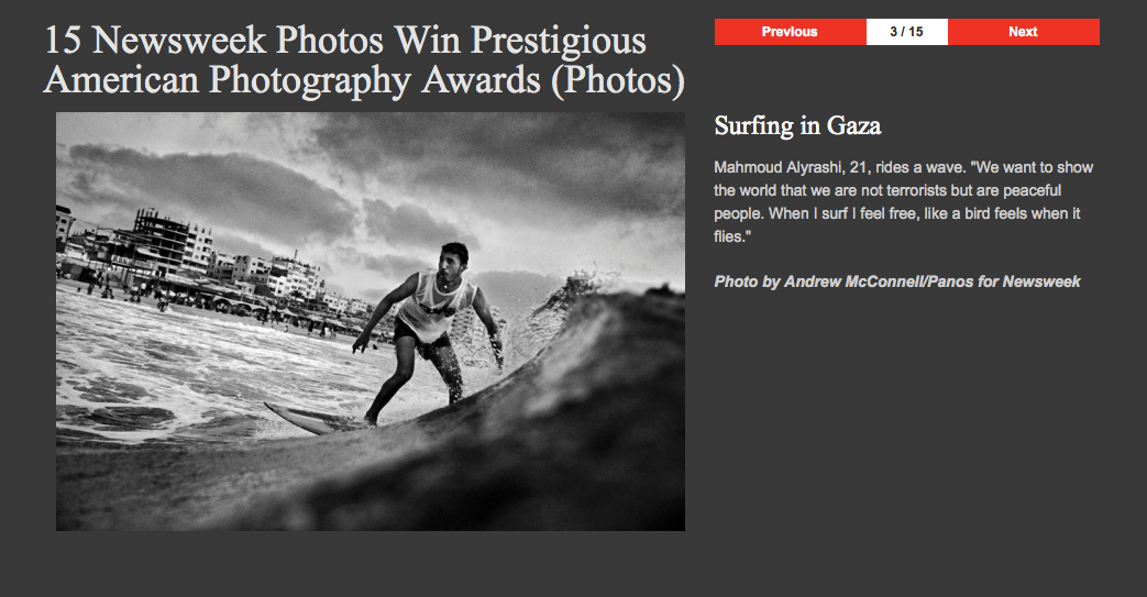 A gallery of amazing images: 15 Newsweek Photos Win Prestigious American Photography Awards (Photos), among them Gaza Beach, the Japan Quake, Tahrir Square, Afghanistan, and portraits of Angelina Jolie: http://t.co/8S209EiH