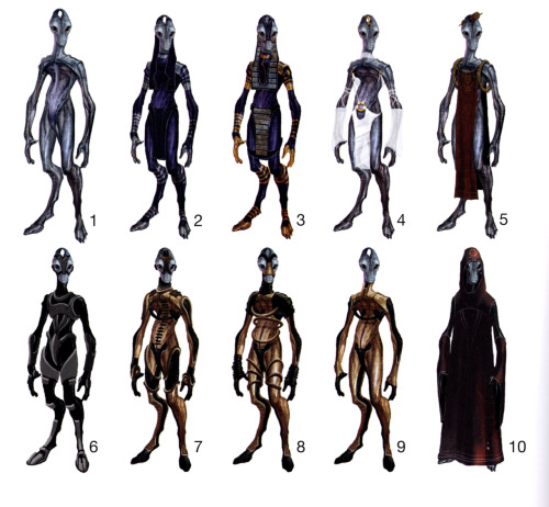 I scanned in these concepts to show you guys what salarians COULD have been wearing in the game. It took me a really long time to figure out what was so different with the first one but then when I looked closely at the chest area I saw the there was this membrane-thing connecting the chest and the stomach. Cute!  I also have to say that 2 and 3 are super interesting! I kinda wish that you could tell each race apart (aside from biological appearance) from their fashion. Most people in mass effect look like buy their clothes from the same store. The ancient egyptian feel to these are really refreshing (there's so much that they could've done with those horns). My favorite concepts however are 4 and 5. 4 Mostly because OH LOOK THE SALARIAN EQUIVALENT TO NIPPLE PIERCINGS AAAAAH and the loincloth oh gog hnnnnnnggg why didn't you include this Bioware   5 is super adorable because just look at that scroll in between his horns <33333 ! Can you just imagine a bunch of sallies strolling around the citadel like posh motherfuckers and being just like IDGAF, occasionally stopping to sit on a bench and read their little scrolls (probably filled with poetry about waterfalls)? Other races would be shocked to see salarians wearing nothing but these loin-cloth gowns as casual wear but salarians would see it as a normal thing since nudity isn't a big deal in their society- okay I think I ought to end this fangirl post right here before it gets out of hand. Anyway, these concepts were really inspiring! So glad I got this book!