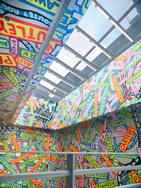 artmaps:  Paula Scher's mural installed at the new Metropolitan Campus in Forest Hills, Queens