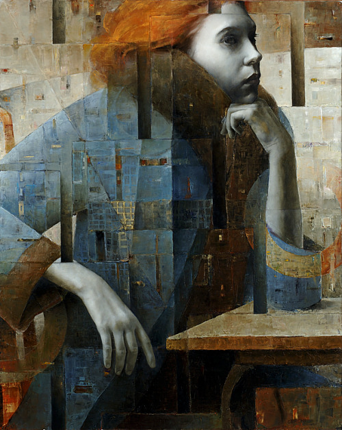2headedsnake:  sergiocerchi.it Sergio Cerchi, 'Sitting Red Haired Girl', oil on canvas, 100x80