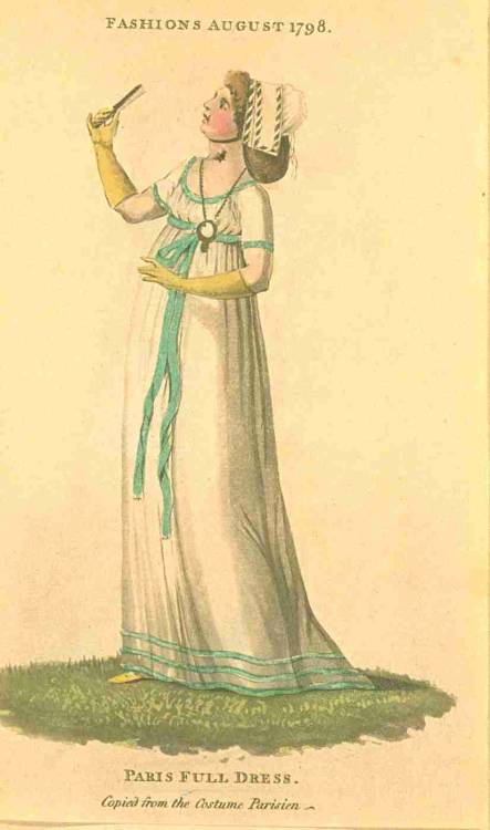Fashions of London and Paris (from Journal des Dames et des Modes), August 1798.  Isn't it amazing how a bright ribbon can make a simple white gown stunning?