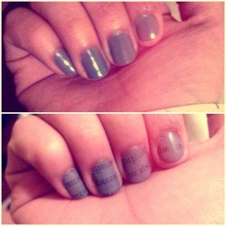 Newspaper nails. :) #nails #grey #girl #swag #vintage #fashion #chic #writing #newspaper  (Taken with instagram)