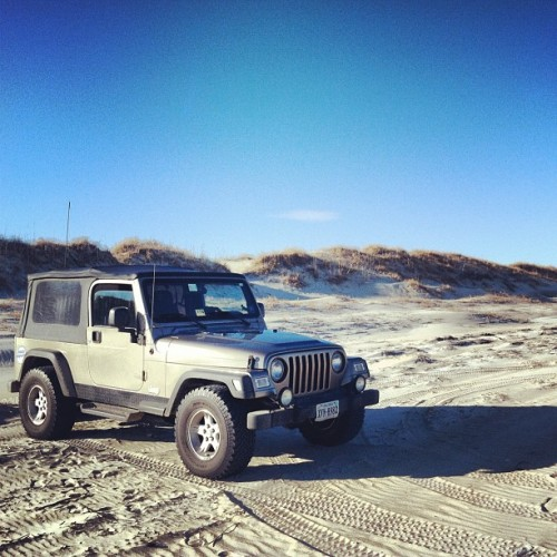 #beach #jeep #sand #wrangler #carova  (Taken with Instagram at Carova Beach 4x4)