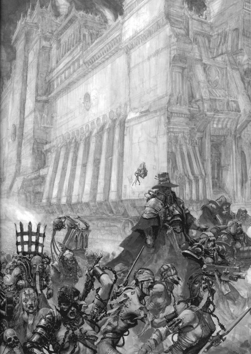 Witch Hunter of the Ordo Hereticus and retinue leading Sisters of Battle and Sisters Repentia into battle.  Burn the witch. Purge the Heretic. Suffer not the Unclean to live. ~Motto of the Inquisition
