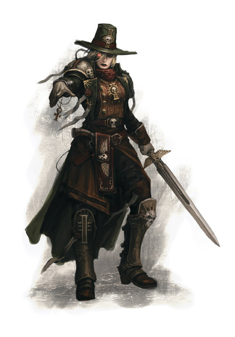 Witch Hunter of the Ordo Hereticus. Look at that marvelous hat!  Burn the witch. Purge the Heretic. Suffer not the Unclean to live. ~Motto of the Inquisition