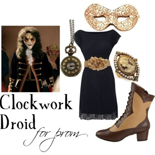Clockwork Droid for a Masquerade-themed prom Embroidered dress, £25Funtasma victorian shoes, $41Avalaya vintage style ring, £9.45Antique brass jewelry, $20Mesh belt, $15White Glitter Masquerade Mask with Gold Swirls and Ribbon Tie, $6.25
