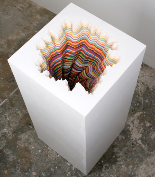 """Pedestal: by Jen Stark. Sculptural piece hand-made using paper. His works always feature vibrant, bold colors, as well as echoing patterns. Gotta love this guy! Check out more of his sculptures at http://www.jenstark.com/!"