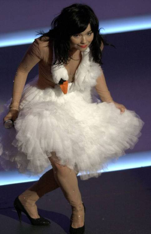 "caesarseizure:  sexynblack:  Bjork's swan dress has to be one of most memorable Oscar dresses of all time. Designed by Marjan Pejoski, it was meant to be a joke and Bjork did have the last laugh. The singer said after the ceremony in 2001: ""I was actually amazed at how many people thought I was serious. I didn't mean to cause a riot"". Bjork even dropped eggs on the red carpet at the event. ""It was really funny because the security guards would pick them up and run after me with their walkie-talkies saying: 'Excuse me, miss, you dropped this'.""  Huh, I never noticed her shoes.   Bjork even dropped eggs on the red carpet at the event"