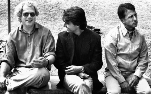 Tom Cruise, Dustin Hoffman and Barry Levinson on the set of Rain Man