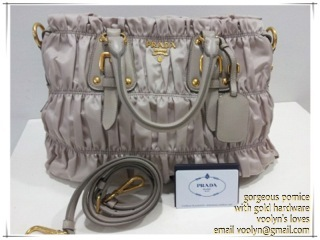 bn1336 gaufre' fabric in elegant pomice with gold hardware. rare find in sg, 1 piece available. email voolyn@gmail.com
