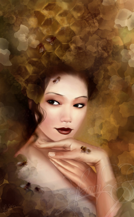 cindypon:  The Queen Bee, gorgeous asian model for this painting. artmonia:  The Queen Bee | Jenny Lehmann.