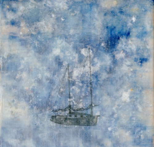 Small SailboatEncaustic on Panel