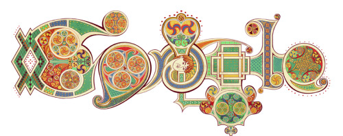 St. Patrick's Day doodle,  digital, for Google Inspired by the Book of Kells, you can see some of my process in this article.